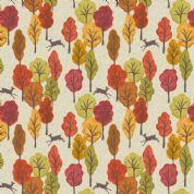Lewis & Irene Autumn in Bluebell Wood - 5520 - Deer & Trees on Cream  - A250.1 - Cotton Fabric